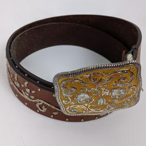 Western Embroidered Rhinestone Leather Belt